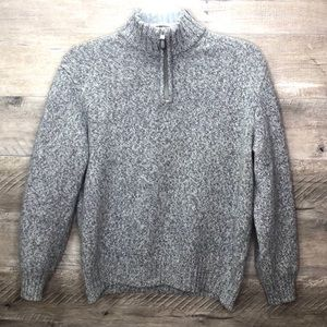 BLUMARINE 100% WOOL GRAY 1/4 ZIP SWEATER SZ XL